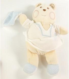 Doudou ours eige blanc crème robe Mouchoir bleu Nounours 22 cm