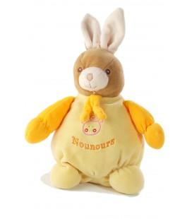 Doudou lapin jaune orange Nounours 28 cm