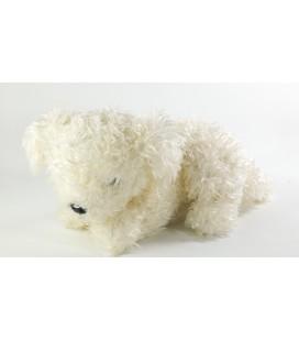 Peluche doudou chien blanc Nounours 18 x 26 cm + queue