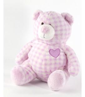 Doudou ours mauve violet Ajena Grelot coeur assis 18 cm