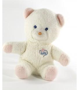 Vintage Doudou peluche ours blanc rose Baby BOULGOM Yeux bleus 26 cm