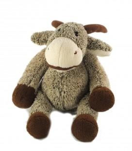 Peluche doudou chevre vache grise marron 32 cm Ajena