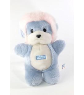 Peluche doudou Lion bleu blanc rose Boulgom 25 cm