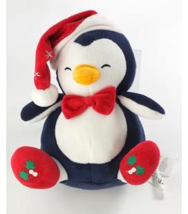 Doudou Pingouin bleu SGMJ Sergent Major Bonnet Noeud Papillon rouge 20 cm