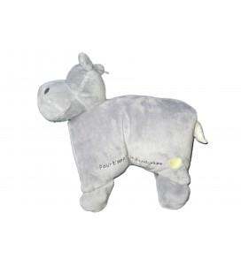 Doudou peluche coussin Hippopotame gris Pour t'apprendre la tendresse