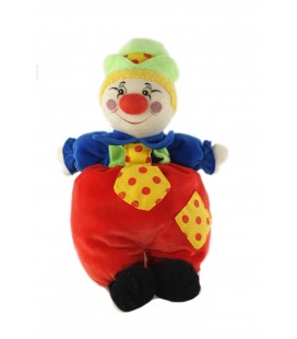 Doudou clown rouge cravate chapeau vert Ajena 26 cm