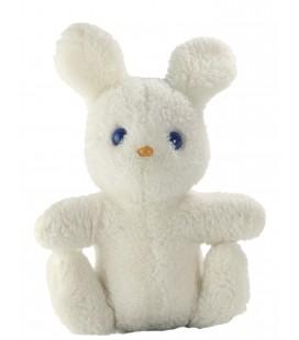 Peluche ancienne doudou Lapin blanc yeux bleux Boulgom 22 cm Vintage
