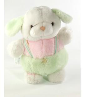 Peluche doudou chien lapin chien blanc rose vert salopette Boulgom 25 cm