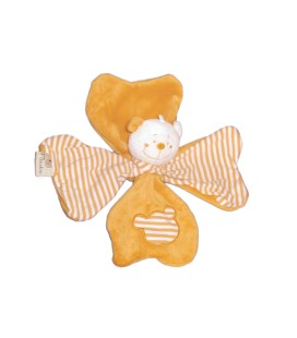 Doudou ours jaune orange Rayures Trefle FILOUDOU CMP Paris
