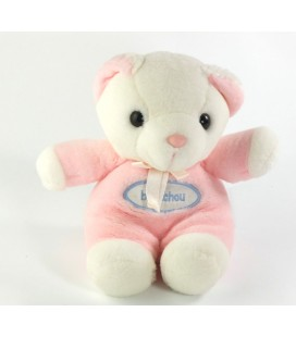 Peluche ours rose blanc Bout chou Brechet 18 cm