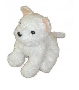 Doudou peluche CHIEN blanc assis - LaSCaR - 22 cm