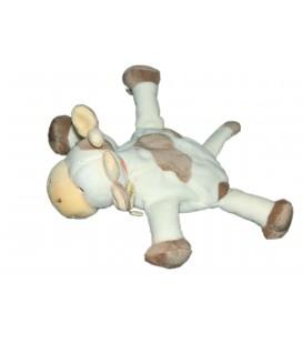 Doudou VACHE blanche taches marrons Jollybaby Idem Nattou L 22 cm