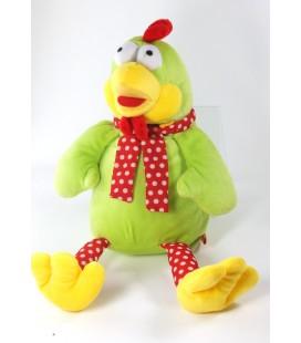 Doudou poule coq vert rouge pois Fizzy 38 cm
