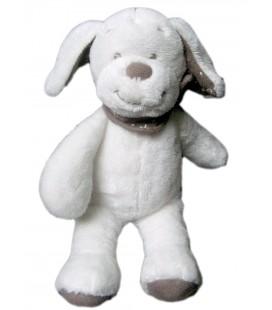Peluche doudou chien lapin blanc Bandana Marron taupe INFLUX Cora 28 cm