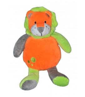 Peluche doudou Lion orange vert U Tout Petits 22 cm