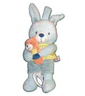 Peluche musicale doudou Lapin bleu ours orange Pommette 25 cm