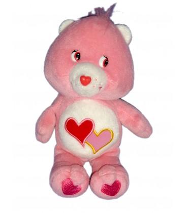 Peluche doudou Bisounours Care Bears Groscheri Love-A-Lot Bear 2 coeurs Jemini 20 Cm