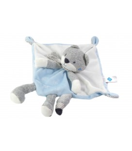 Doudou plat chat renard gris blanc bleu TEX Baby