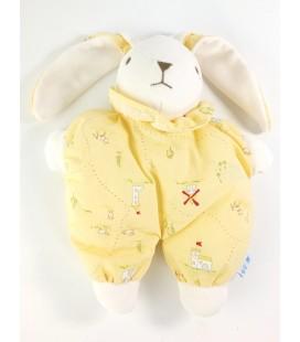 Doudou tissu lapin jaune Nounours Moulins chateaux vaches moutons 26 cm