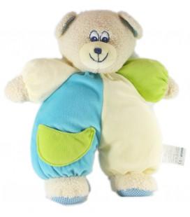 Doudou peluche Ours bleu jaune vert Carrefour 32 cm