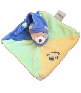 Doudou Plat Ours bleu vert Les Bonbons Babynat 15 cm