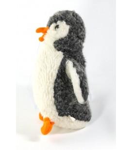 Ancienne peluche doudou Pingouin Vintage blanc gris Boulgom 20 cm
