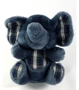 Ancienne peluche doudou Elephant bleu carreaux Nounours 22 cm