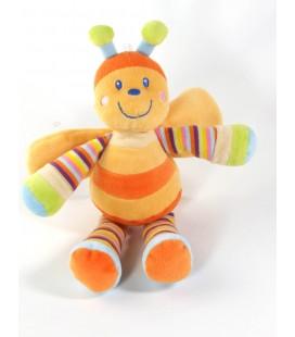Doudou abeille orange Mots d Enfants orange rayures 25 cm