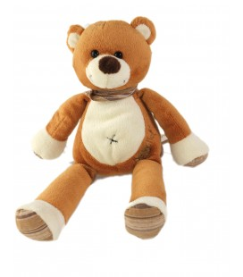 Doudou ours marron blanc Foulard Baby Nat 26 cm