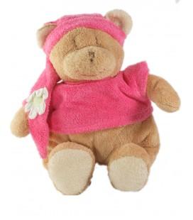 Peluche doudou Ours beige rose bonnet Ajena Fleur 28 cm