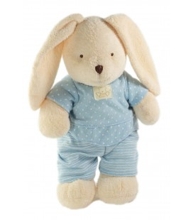 Peluche doudou lapin blanc creme ecru pyjama bleu ours Nicotoy