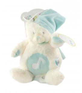 Babynat Baby Nat doudou Ours ourson blanc bleu peluche musicale BN072