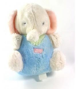 Ancienne peluche doudou Elephant Vintage bleu blanc rose grelot Boulgom 22 cm