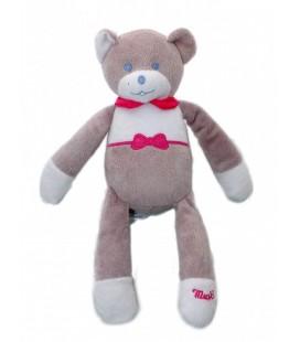 Doudou ours gris blanc rose yeux bleus Musti de Mustela 27 cm