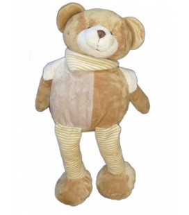 Doudou peluche OURS beige MaXITa Longues jambes rayures 45 cm marron clair