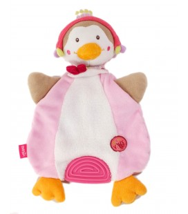 Doudou plat anneau dentition oiseau canard bon voyage rose blanc Baby Sun
