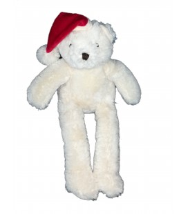Peluche ours blanc bonnet rouge 35 cm Passion Beaute 2012