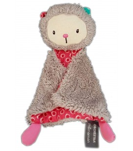Doudou plat chat ours gris rose Orchestra Premaman