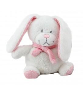 Peluche doudou Lapin blanc rose pois 15 cm Tex Baby