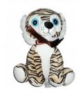 Peluche doudou Tigre noir beige gros yeux bleux Zeeman assis 25 cm noeud marron satine