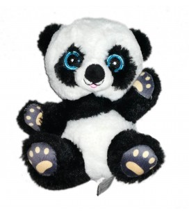 Peluche doudou Panda blanc noir gros yeux bleux Zeeman 20 cm