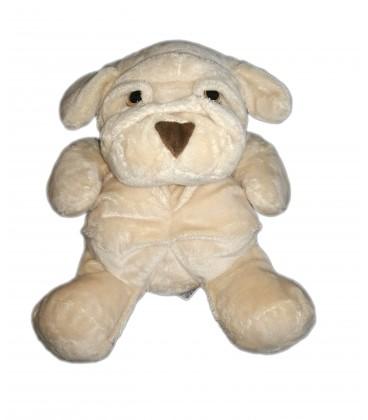 Peluche doudou chien beige clair nez marron Sharpei Nounours 36 cm