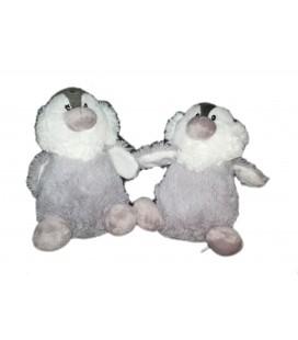 LOT DE 2 - Peluche doudou Bourriquet Pingouin gris blanc Choco Diffusion 18 cm