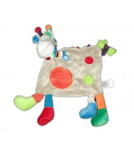 Doudou plat girafe gris rond rouge Simba Toys
