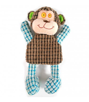 Doudou peluche marionnette Singe marron bleu Funky Collection by Vacco