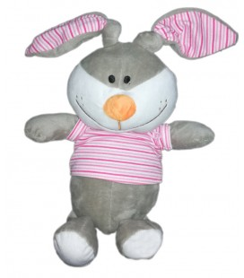 Peluche doudou lapin gris rayures rose FIZZY Lapi Choco 32 cm