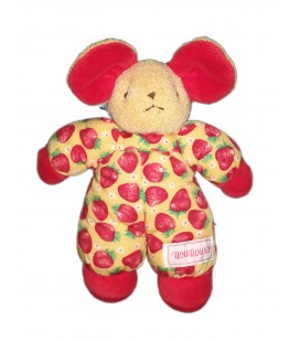 Peluche doudou Souris rouge tissu imprimé fraises Nounours 22 cm