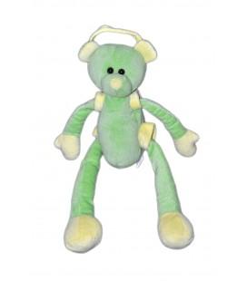 Peluche doudou ours vert jaune CMP Longues jambes bras 42 cm