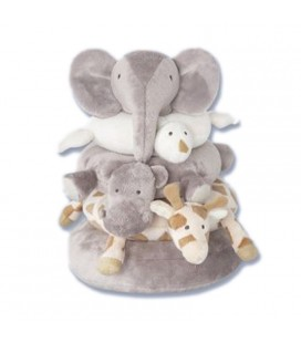 Peluche doudou d'activite Pyramide Eveil Elephant animaux Jacadi