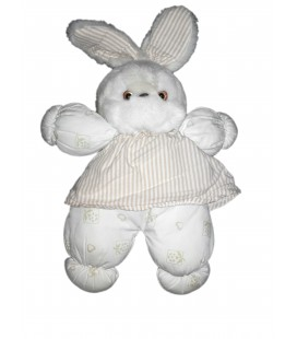 Peluche doudou lapin blanc beige rayures Tartine et Chocolat 30 cm